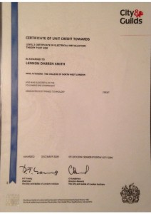 thumbnail of Certificate of Unit Credit: Level 2 Electrical Installation Theory Part One