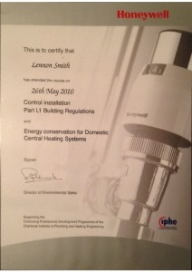 thumbnail of Certificate: Control Installation Part L1 Building Regulations and Energy Conservation for Domestic Central Heating Systems
