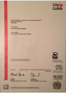 thumbnail of Certificate Level 3 : Inspection, Testing and Certification of Electrical Installations