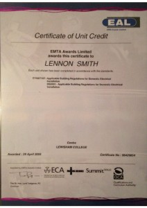 thumbnail of Certificate of Unit Credit: Applicable Business Regulations for Domestic Electrical Installation