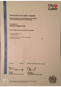 thumbnail of Certificate of Unit Credit: Level 3 Electrotechnical Technology (Buildings and Structures)